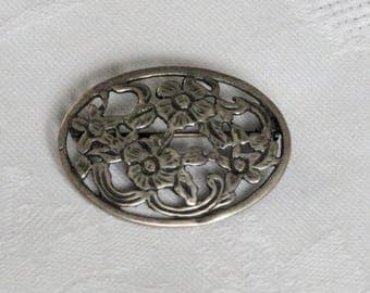 Vintage Dutch 835 silver floral flower open work brooch or pin 1980s