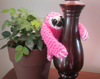 Pink Handmade Crocheted Tiny Baby Sloth (Child's Stuffed Toy)