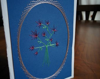 Christmas greeting card, hand embroidered silk flower bouquet