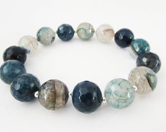 Navy Blue Gemstone Bracelet, Stretch Blue Agate Gemstone Bracelet for Women, Gemstone Stretch Bracelet, Blue Gemstone Beaded Bracelet