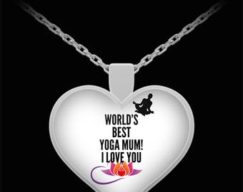 WORLD'S BEST Yoga Mum! Silver Plated Necklace