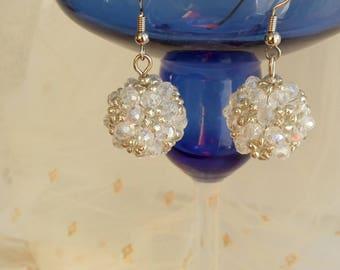White Beaded Earrings, Long Beaded Earrings, Seed Bead Earrings, Beaded Jewelry, Boho Earrings, Dangle Earrings, Ball Earrings, Bohemian