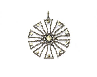Abstract Wheel Pendant, Pave Diamond and Polki Pendant, Pendant, Natural Rose Cut and Polki Diamonds Sterling Silver, Approx 51mm