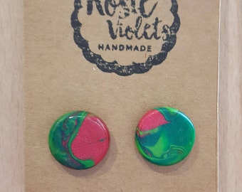 Christmas polymer clay stud earrings