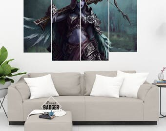 Sylvanas Windrunner World of Warcraft 4 Panel Piece Canvas Set WoW Wall Art Print Poster Artwork Wall Decor Painting Decal Mural Decoration