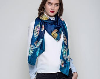 Midnight Blue & Autum leaves,Designer Silk Scarves ,Fashion Accessories,Gifts For Her, Luxury Scarves, Handmade, Digital Print,Evening Wrap