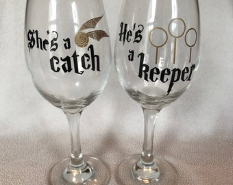 His and Her Harry Potter Wine Glasses