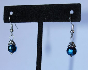 Round Shiny Blue Drop Earrings