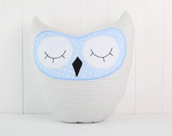 Owl Pillow-Gray and Blue-Home Decor-Cushion Owl