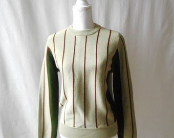 Vintage 1980s Green Striped White Stag Action Sports Pullover Crewneck Sweater, Vintage Sweater, 1980s Sweater, Striped, Vintage Women's