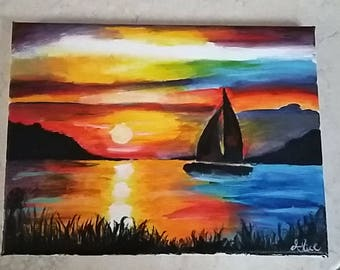 Sunset boat, painting, painting, sailboat, acrylic painting, gift for friends, gift idea