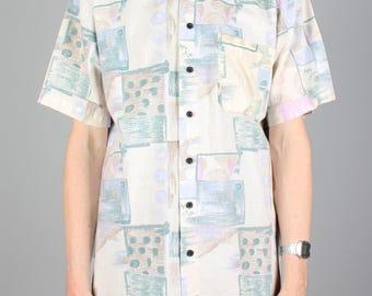 90s pattern shirt - cotton shirt - vintage pastel abstract print - 1990s button down shirt - short sleeve summer festival blouse - size S