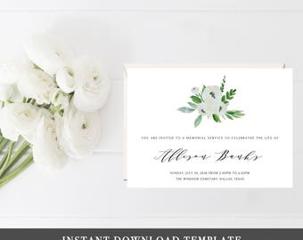 Funeral Template PDF Memorial Service Invitations Memorial Invitation  Template Funeral Ideas Woman Funeral White And Green