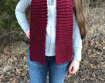 Acrylic hand knitted maroon scarf