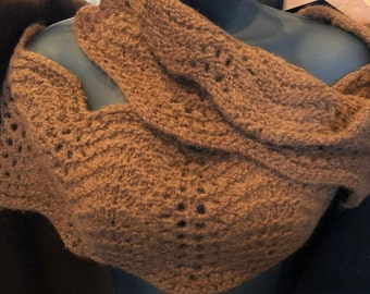 Paco-Vicuna Hand-Woven Infinity or Circle Scarf, Curved-Edge or Wave Pattern - Very Unique!