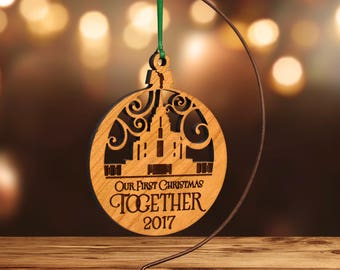 LDS Temple Ornament, Rexburg, Family Forever (or Customize) in Laser Cut Hardwood