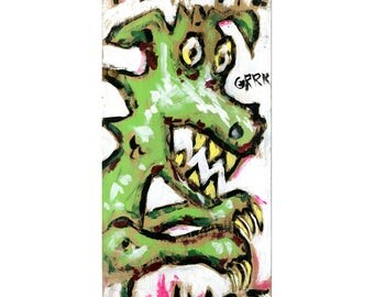 Original art painting on a shingle by Art Nomade acrylic on wood Art Monster