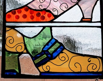 Designer Shoes Stained Glass Panel