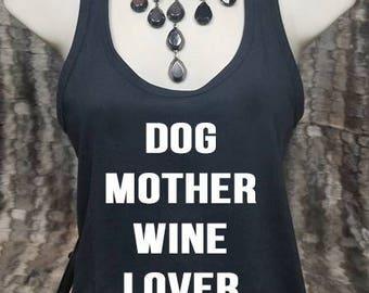 Dog Mother Wine Lover Shirt, Fur Mama Shirt, Fur Mom Tank, Dog Lover Shirt, Dog Shirt, Tank Top