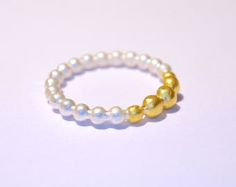 Silver and gold ring, small beads * Kügelchenring * Stackingring