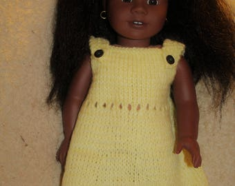 Yellow Hand-Knit 18-inch Doll Dress
