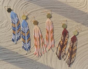 Brass Hexagon + Beaded Fringe Earrings