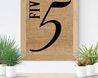 Burlap Print, Family Number Sign, Burlap Wall Art, Farmhouse Sign, Number  Sign