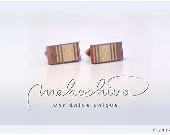 wooden cuff links wood walnut maple handmade unique exclusive limited jewelry - mahoshiva k 2017-94