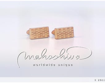 wooden cuff links wood alder maple handmade unique exclusive limited jewelry - mahoshiva k 2017-64
