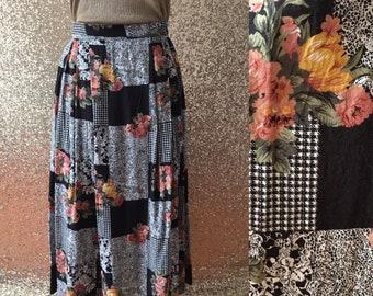 vintage patchwork-esque floral midi skirt