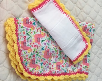 Multi colored Yellow and Fuschia Crochet edged Baby Blanket and Burpie cloth.