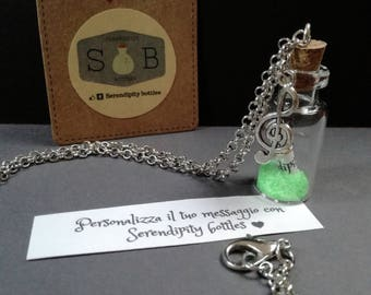 Necklace/Keychain with personalized message! MUSIC EDITION