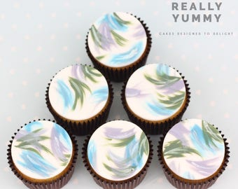 Brushed blues cupcake toppers - 6