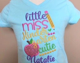 Personalized Back to School Little Miss Cutie ANY GRADE Shirt