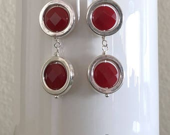 Very Nice Dangle Earrings with Cherry Quartz Stone