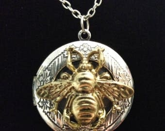Silver and Gold Bee Locket