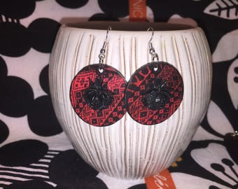 Upcycled Gudrun Sjoden Image  Earrings - Tirild in red and black