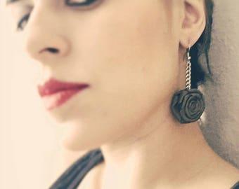 Olive long rose earrings