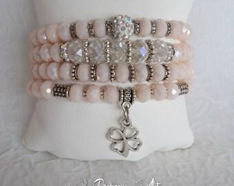 Bracelet set czech crystal,  pink bracelet, crystal bracelet, stretch bracelet,  adjustable bracelet, bracelet gift, bracelet with pendant