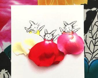 Easter card, rabbit card, easter rabbit card, easter bunny card, hare card, bunny card, birthday rabbit card, rabbit drawing