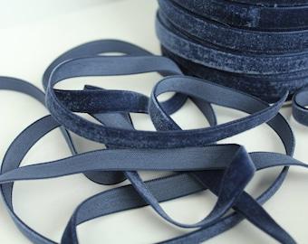 3/8 inch Navy Velveteen Ribbon by the Yard / 10 MM Velveteen Ribbon / Velvet / Navy / ER-V370