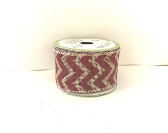 Natural Burlap Wired Ribbon with Red Chevron 9 Feet and 1.5 Inches Wide