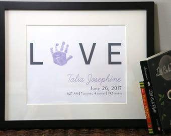 LOVE Custom Personalized Baby Handprint Birth Statistics Nursery Decor Art Print Horizontal