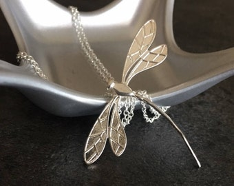 Dragonfly Necklace, 925 Sterling Silver Chain