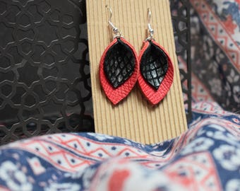 Red and black leather earrings