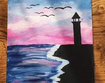 Lighthouse Silhouette Painting