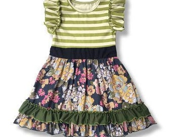 Green Ruffle Dress with Flowers