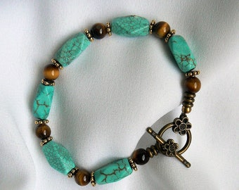 Turquoise and tiger's eye bracelet