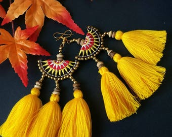 Handcraft Embroidered Tribal Ethnic Earrings Statement Dangle Drop Boho Chic Beaded Tassel Yellow Earrings