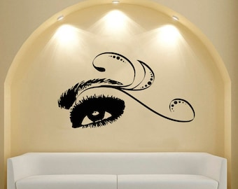 Wall Decal Window Sticker Beauty Salon Woman Face Eyelashes Lashes Eyebrows Brows t61